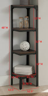 Walnut Corner Bookcase Walnut Wood Black Metal Frame Contemporary 3 4 Or 5 Tier Shelf