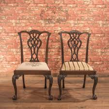 pair of antique dining chairs victorian after chippendale