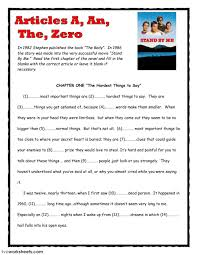 definite and indefinite articles interactive worksheets