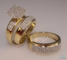 his and wedding ring sets diamond wedding 14k yellow gold fn trio his bridal band
