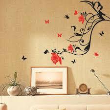 red flower black vine butterfly wall sticker art home decor