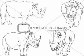 image 2858969 vector illustration sketch of rhino from crestock