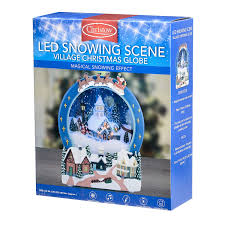 christow led snowing christmas village scene musical snow globe