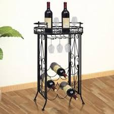 metal wine rack table metal wine rack for 9 bottles glass holder hooks w table plate