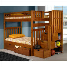 twin over twin tall mission staircase bunk bed in honey by donco