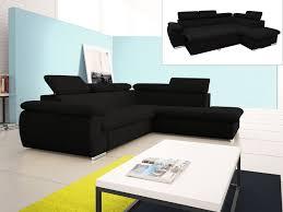 venteunique com canapé canapé d angle droit convertible fabien en tissu noir prix promo