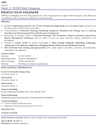Sample Resume For Diploma In Mechanical Engineering by Production Engineer Professional Resume Samples
