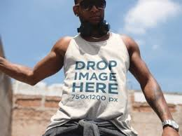 young black man wearing a tank top in a dynamic pose mockup