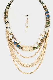 layered necklace chain images Accented beads and chain rope dangled layered necklace set jpg