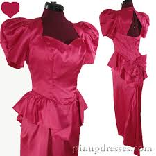 80s prom dresses for sale vintage 80s pink satin puff sleeve prom party dress s m