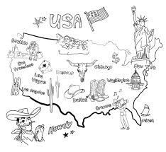 Usa Map Black And White by Stylized Map Of America Things That Different Regions In Usa Are