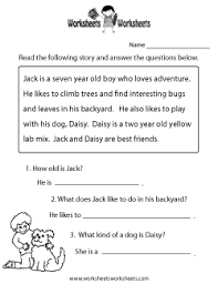 pictures free printable reading comprehension worksheets best