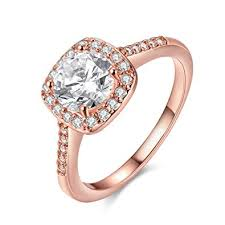 square rings jewelry images Enjoit silver rose gold plated cz crystal square rings jpg