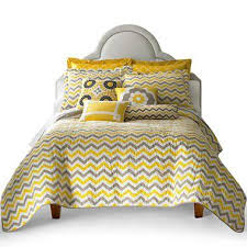 Yellow And White Duvet Reversible Gray And White Quilt Set