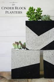 Diy Patio Furniture Cinder Blocks Diy Painted Cinder Block Planters Outdoor Diy Pinterest