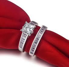 aliexpress buy 2ct brilliant simulate diamond men genuine white gold rings set women 2ct princess engagement ring