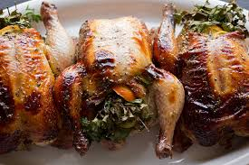 citrus and herb stuffed cornish hens with orange marmalade glaze