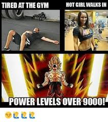 Hot Girl Meme Pics - tired at the gym hot girl walks in power levels over9000
