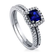 Halo Wedding Rings by Sterling Silver Cushion Simulated Blue Sapphire Cubic Zirconia Cz