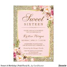 Sweet 16 Photo Invitation Cards Sweet 16 Birthday Pink Floral Gold Glitters Card Glitter Cards