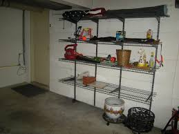 shelving on cement walls