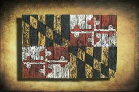 Baltimore Flag Maryland Flag Limited Edition Weathered Wood One Of A Kind