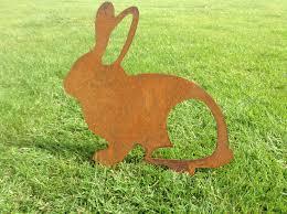 Garden Metal Decor Rusty Rabbit Metal Garden Art Metal Rabbit Silhouette Garden