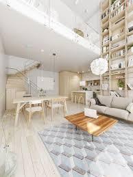 living room brown wooden floor white sofa double height living