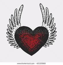 retro heart wings tattoo design vector stock vector 401329900