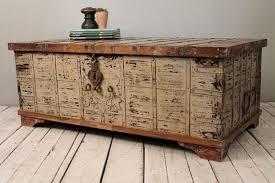 brass trunk coffee table reclaimed salvaged antique indian wood iron and brass wedding trunk