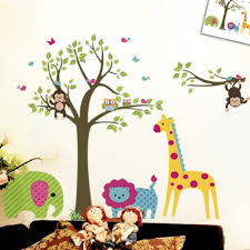 Discountfan Large Colorful Tree  Jungle Animals Wall Sticker - Stickers for kids room