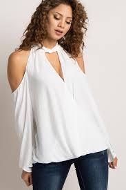 shoulder cut out blouse white chiffon cold shoulder cutout wrap blouse