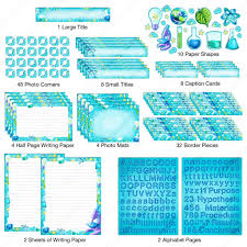 border writing paper science fair poster kit school project printables pieces of the science project kit cut out and laid out neatly colorful blue poster