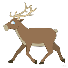 cute cartoon reindeer walking