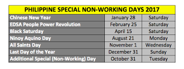 philippine holidays 2017 regular holidays special non working