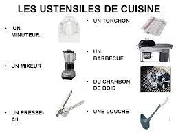 les ustensiles de cuisine les ustensiles de cuisine un minuteur un mixeur un presse ail un