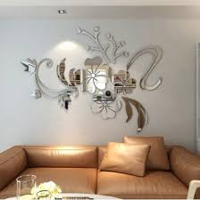living room wall stickers silver 3d stereo flower wall mirror wall stickers rosegal com