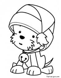 printable christmas puppy santa claus hat coloring pages