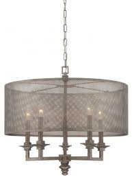 Drum Shade Chandelier Lighting Five Light Metal Mesh Shade Aged Steel Drum Shade Chandelier