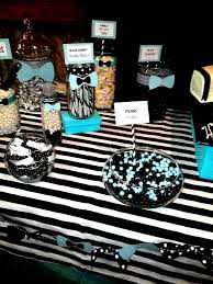 bow ties and bottles themed candy buffet tiffany blue black