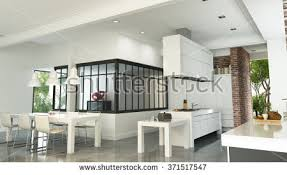 3d rendering modern industrial style kitchen stock illustration