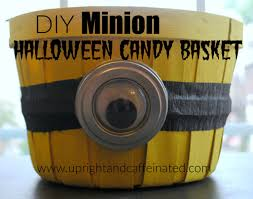 diy minion halloween candy basket upright and caffeinated