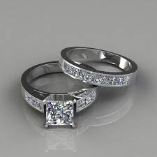 wedding band sets princess cut engagement ring and wedding band bridal set