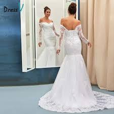 wedding dress ivory mermaid wedding dress ivory the shoulder sleeves
