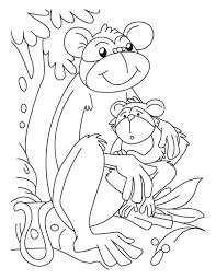 baby monkey and its mom coloring page download u0026 print online