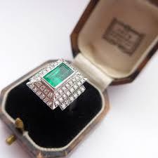 emerald rings uk vintage deco style 2ct emerald 1 24 diamond ring 18ct white
