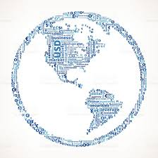 Personal World Map by World Map Globe On Business And Finance Word Cloud Stock Vector
