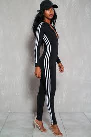 zipper jumpsuit black stripe print sleeve front zipper bodycon casual