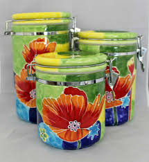 kitchen ceramic canister sets set of 4 hand painted ceramic canisters 3 4 5 1 2 u0026 7 1 2 cups