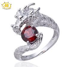 fine fashion rings images Hutang animal stone jewelry natural gemstone garnet dragon ring jpg